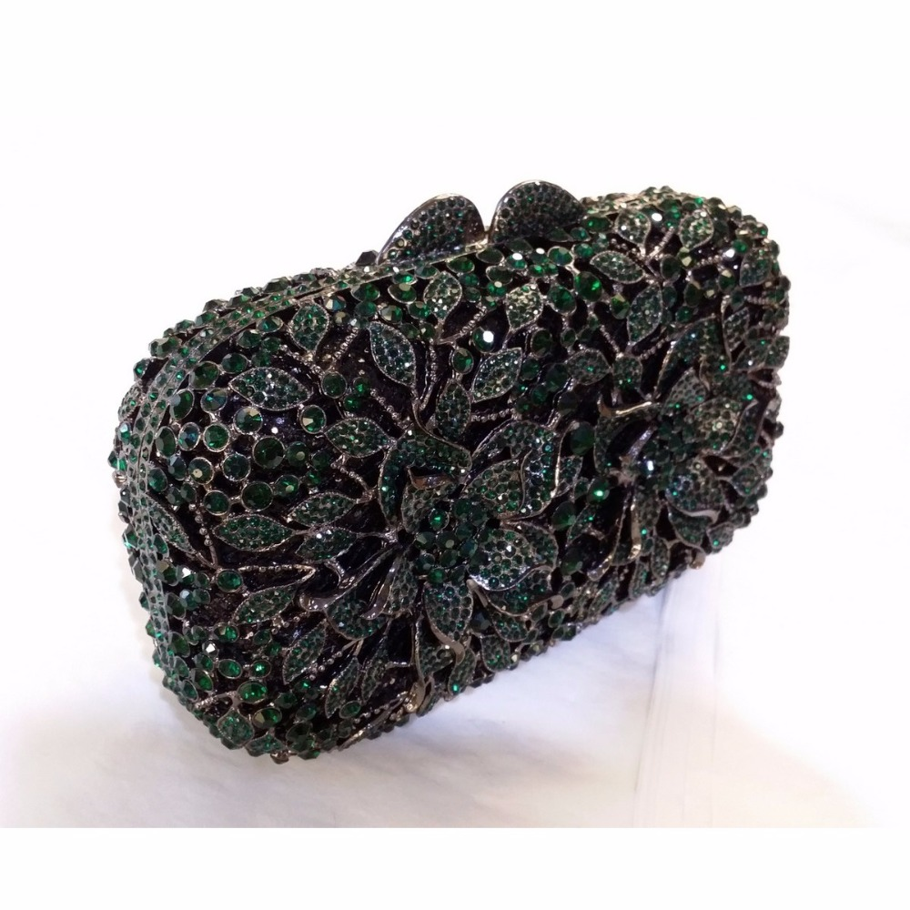 ФОТО #8355ED Emerald Crystal Flower Floral Bridal Party hollow Metal Evening purse clutch bag box handbag case