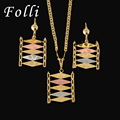 Folli 2017 New Fashion Brand Earring Necklace Set For Women Gold Plated Jewelry Set Stamp Italy 750 Quality Wedding Party Design