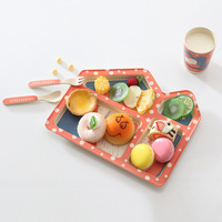 5pcs / set Cartoon House Style Children's tablewares Bamboo fiber Set Plate Forks Spoon Dinnerware feeding food container cutler