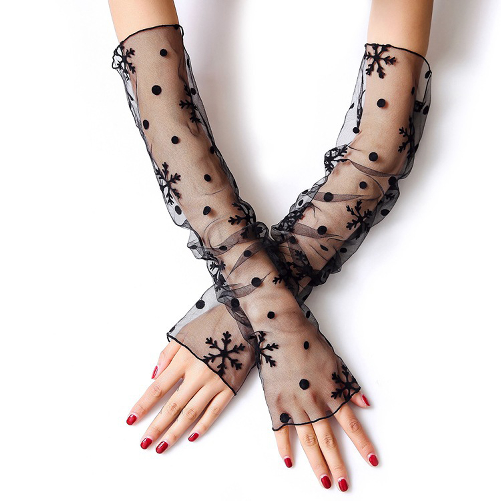 Korean Style Women Summer Fishnet Dual Function Silk Anti-UV Gloves Lace Mesh Sleeves Arm Cover Sunscreen Sleeve