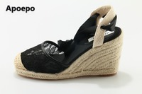 Apoepo Brand 2017 Summer Wedges Sandals Lace Breathable High Heels Sandals Women Mixed Colors Fisherman Shoes