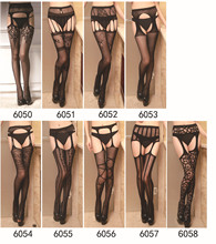 Women Sexy Lingerie Stripe Lace Elastic Stocking Transparent Black Fishnet Stockings Thigh Sheer Tight Embroidery Pantyhose