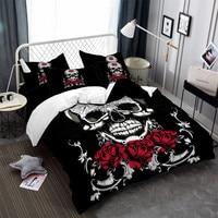 3Pcs Sugar Skull Bedding Set Rose Print Duvet Cover King Queen Bed Cover Girls Sweet Bedclothes Pillowcase Halloween Gift