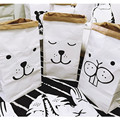 Kraft Paper Bedding Sets Storage Bag Double Layer Cartoon Pattern Baby Room Books Toy Clothing Storage Bag Baby Room Decoration