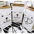 Papel kraft bedding establece bolsa de almacenamiento de doble capa patrón de la historieta del sitio del bebé libros de juguete bolsa de almacenamiento de la ropa del bebé decoración de la habitación
