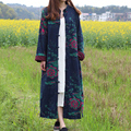 SCUWLINEN 2017 Mulheres Primavera Casaco de Outono Do Vintage Botões de Placa Gola Mandarim Plus Size Robe Longo Outerwear Casaco Trench S227