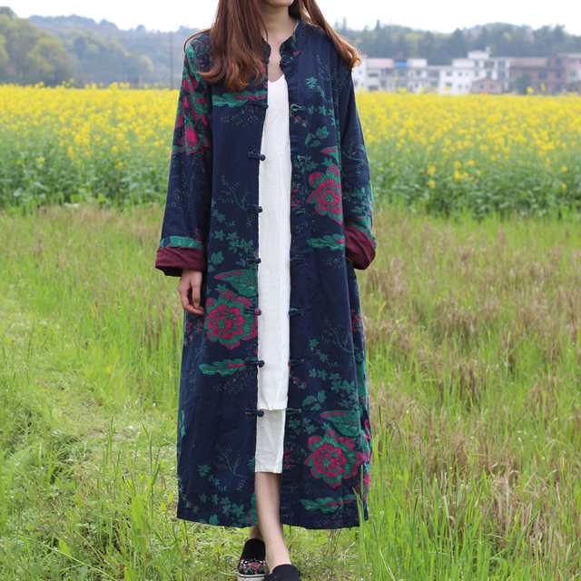 SCUWLINEN 2017 Women Spring Autumn Coat Vintage Mandarin Collar Plate Buttons Plus Size Long Robe Outerwear Overcoat Trench S227