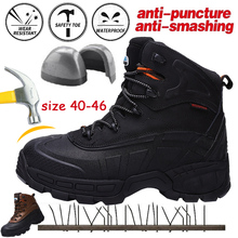 Cungel Plus size Men Steel toe Safety boots High quality leather Work Outdoor Trekking Hiking shoes Military combat