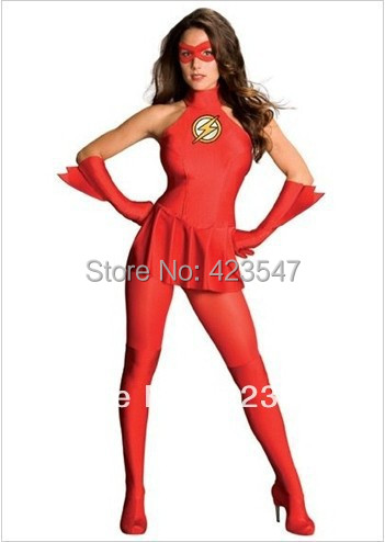 Red & yellow lycra, Justice League Costumes Halloween costumes costume Dwyane The Flash Female Version Spandex Superhero Costume