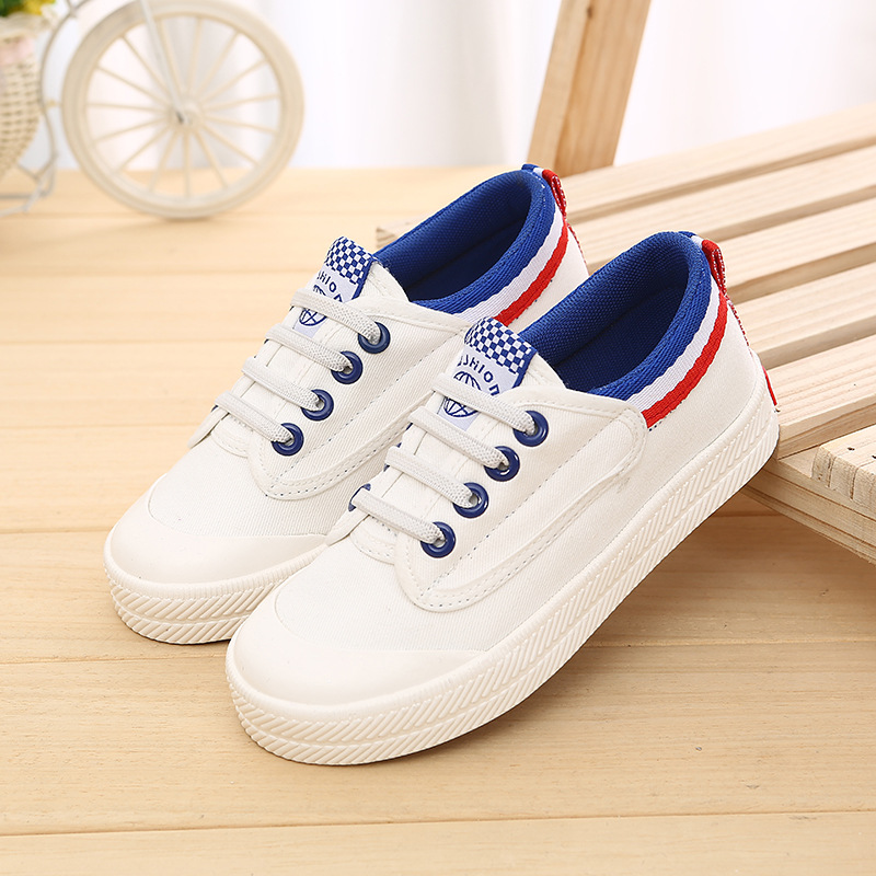2018 Cool canvas classic casual toddler hot sales high quality boys girls shoes lace up solid color baby sneakers first walkers