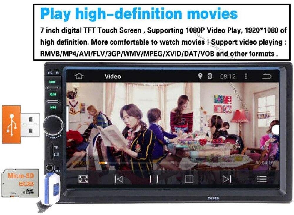 """imágenes para Radios de autos párrafo Bluetooth Car Audio Autoradio 2DIN 7 """"de Radio HD En El Tablero de Pantalla Táctil MP5 Reproductor MP3 USB de radio auto Estéreo"""