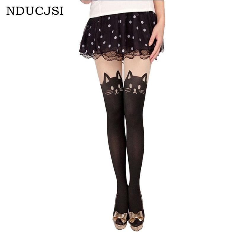 NDUCJSI 2017 Woman Tights Harajuku Women Pantyhose Design Sexy Stitching Strumpfhose Stocking Girl Tight Bow Female Tights Boots