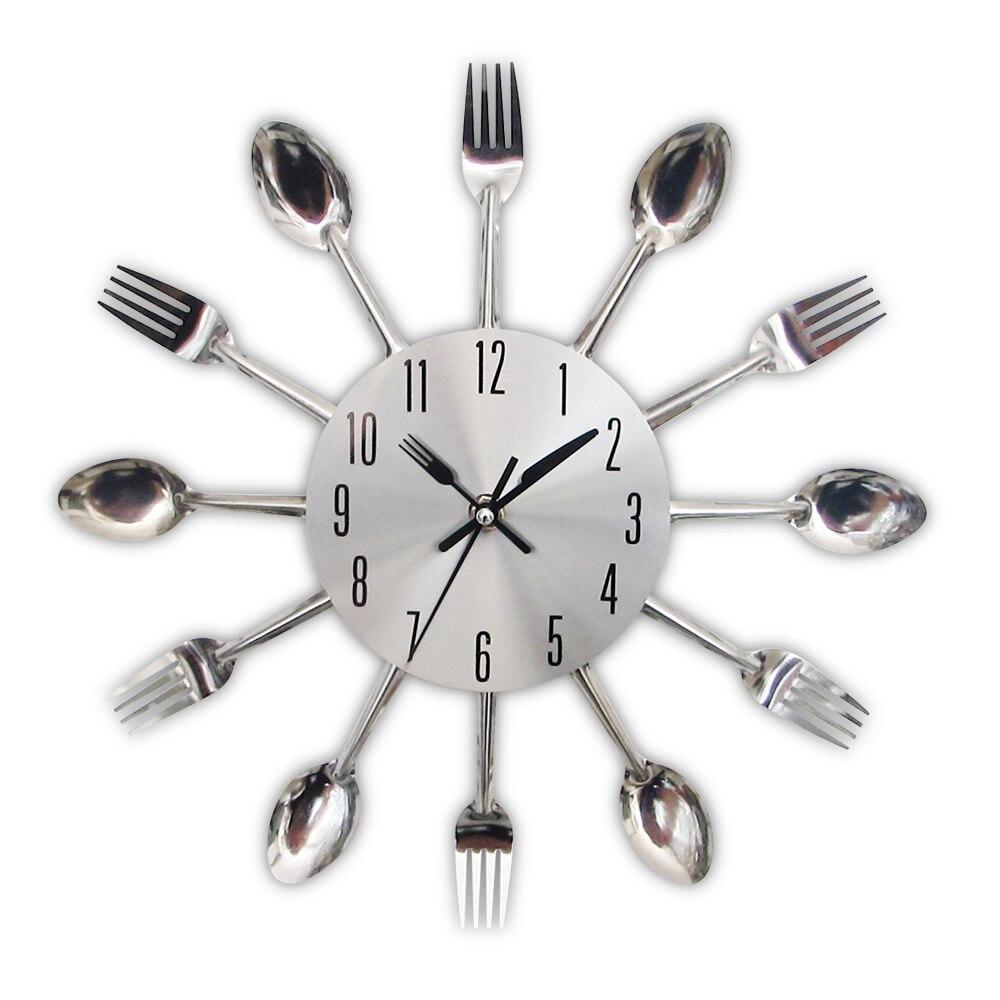 2017 Nouveau Moderne Cuisine Horloge Murale Ruban Couverts Horloges Cuillère Fourchette Creative Stickers Muraux Mécanisme Conception Décor À La Maison Horloge