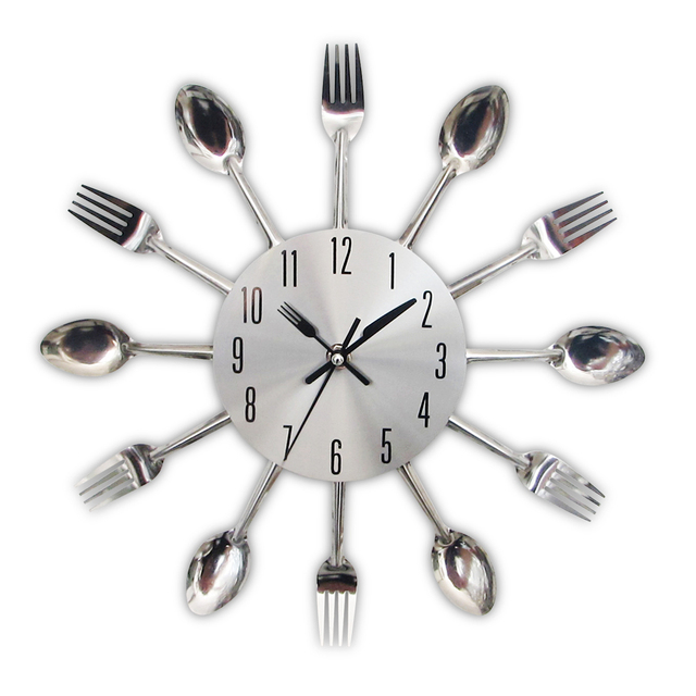 New Modern Kitchen Wall Clock Sliver Cutlery Clocks Spoon Fork Creative Stickers Mechanism Design Home