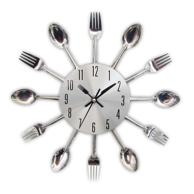 new modern kitchen wall clock sliver cutlery clocks spoon fork creative wall stickers mechanism design home - Kitchen Wall Clocks