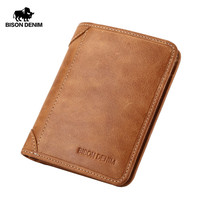 BISON DENIM Genuine Leather Wallet Vintage yellow Men's purse Cards Holder Soft Leather men purses Short Men Wallet W4361