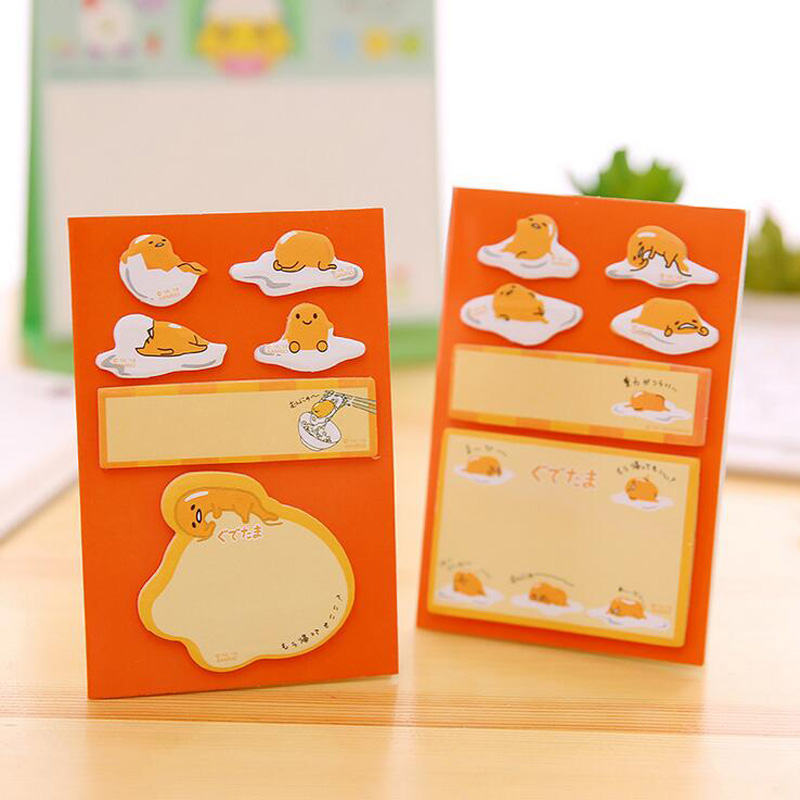 N58 120 Pages Kawaii Gudetama Egg Adhesive Memo Pad Sticky Notes Writing Notepad Post it School Office Supply Stationery Sticker deli 300 pages set solid memo pad daily post stationery school