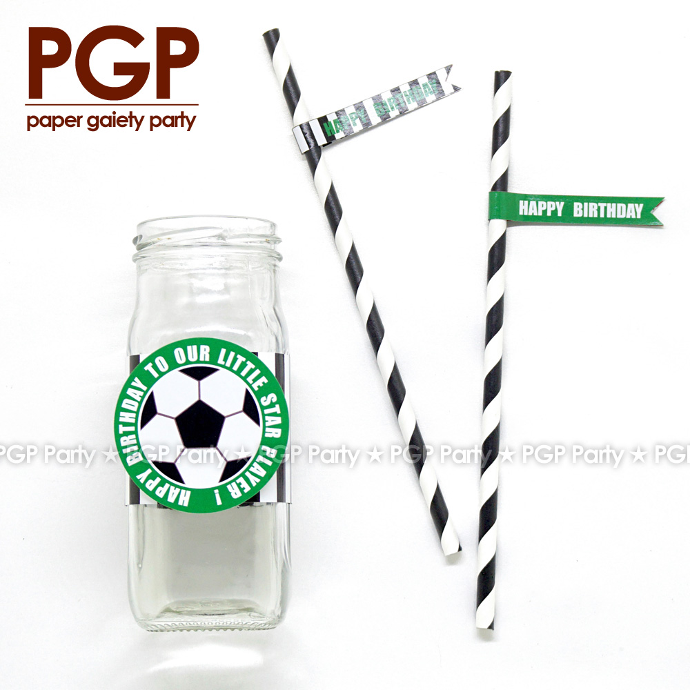 [PGP] Football Party set Cup Ring Straw World League One boy 1st 6th Birthday Baby Showe ...
