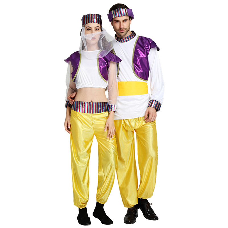 Purim Party purple adult Arab Arabian Costume Middle East Aladdin Costume men women Halloween Cosplay Arabic clothing