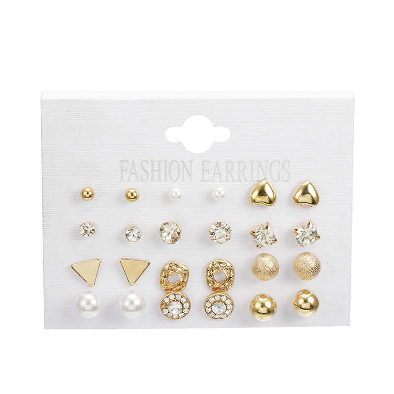 Fashion Korean Jewelry Earring Set 12 pairs/set Silver Gold Round Heart Pearl Triangle Crystal Stud Earrings for Women Oorbellen