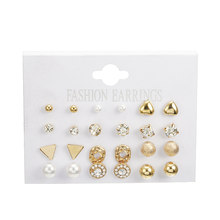 Fashion Korean Jewelry Earring Set 12 pairs/set Silver Gold Round Heart Pearl Triangle Crystal Stud Earrings for Women Oorbellen(China)