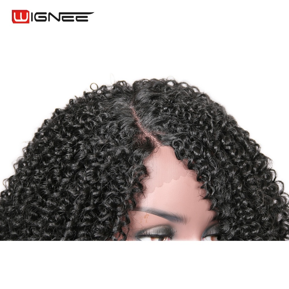 Wignee Side Part Lace Front Synthetic Wigs For Women Afro Kinky Curly Hair Heat Resistant Natural Black Brown Cosplay Hair Wigs in Synthetic None Lace Wigs from Hair Extensions Wigs