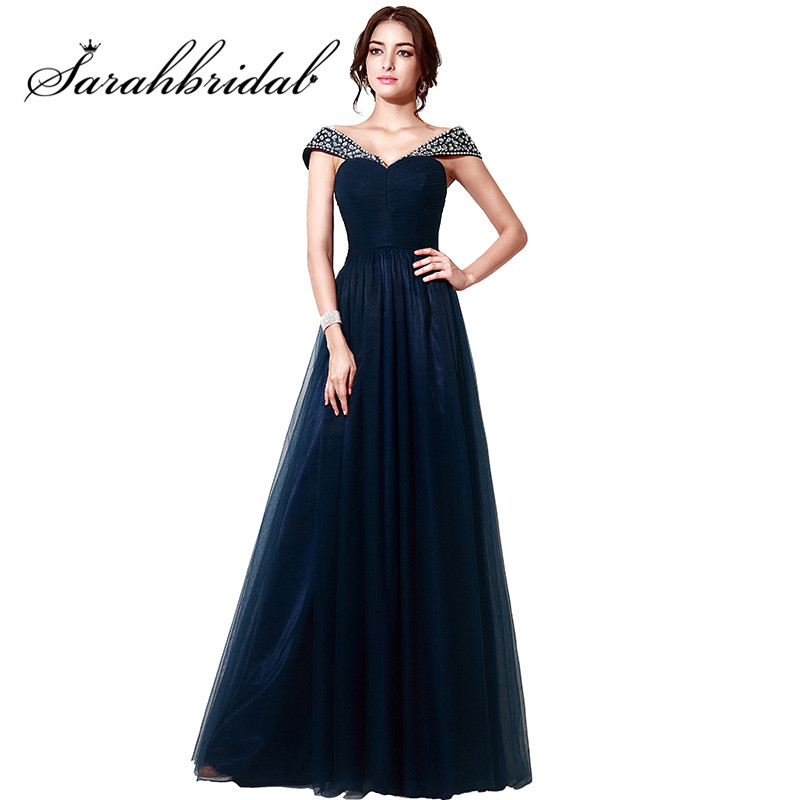 Navy Blue Elegant Evening Dresses Long Cheap Off Shoulder Tulle Real Photos Crystal Prom Party Gowns