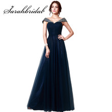 Navy Blue Tulle long Elegant Prom Dresses Boat Neck handmade Crystal Evening dress party gowns Floor-Length A line Dress SD204