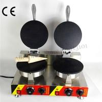 Electric Ice Cream Cone Machine Commercial Crispy Waffle Baker Maker 2 Heads 220V 110V 2000W CE