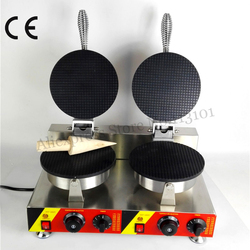 Electric Ice Cream Cone Machine Commercial Crispy Waffle Baker Maker 2 Heads 220V 110V 2000W CE Approval