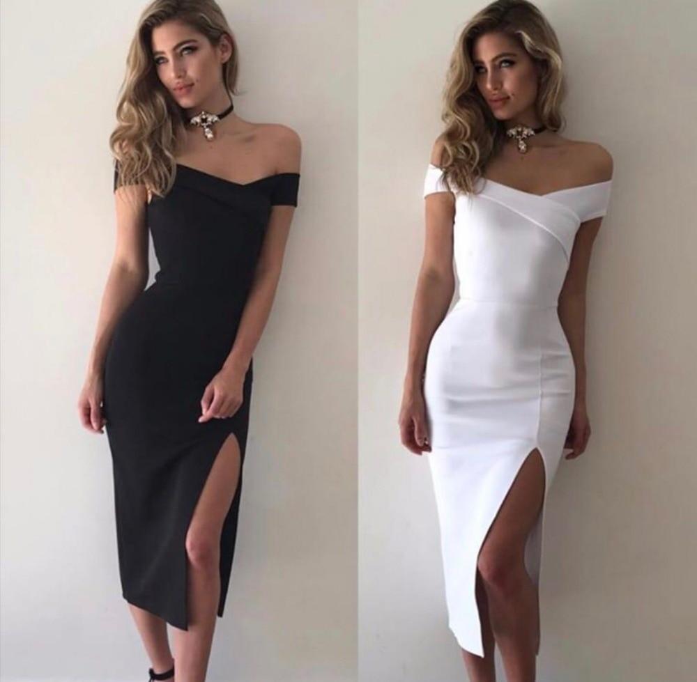 Высокое качество Slash Средства ухода за кожей шеи Белый Черные Вилы по колено тонкий район Бандажное платье Вечеринка платье