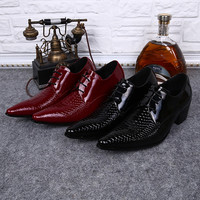 Red Handmade Patent Leather Mens Designer Dress Shoes Pointed Toe Lace Up Oxford High Heels Burgundy