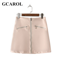 GCAROL 2017 Women Euor Style Faux Leather Two Zipper Design Skirt A-Line Mini Skirt With Lining High Quality PU Skirt For Ladies