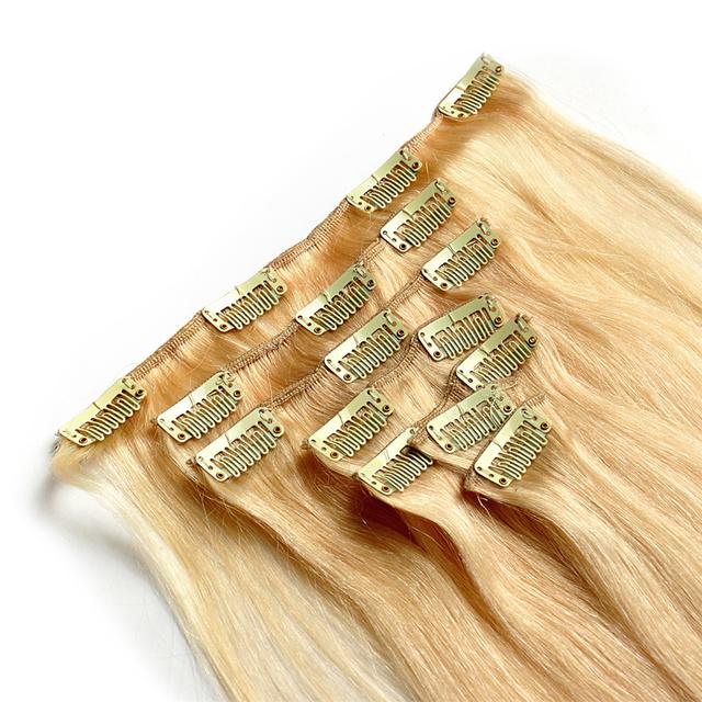 Cabeza llena #60 Platium Rubia Brasileño clip en extensiones del pelo humano 90g-155g Clip En Extensiones de cabello