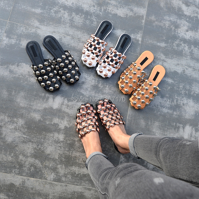 5c1dcf196 Cheap Fashion Amelia Leather Beach Sandals Mules Slip On Rivet  Pearl  Crystal  Studded Slippers