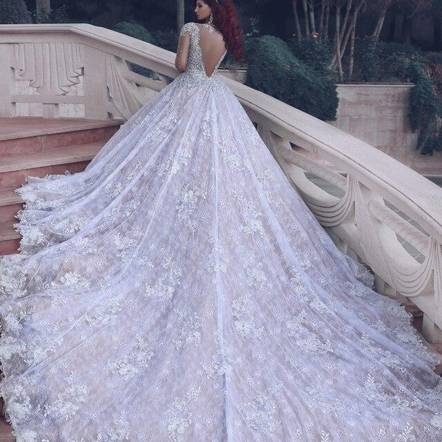 Vestido De Novia Luxury Cathedral Train Long Sleeve Lace Wedding ...