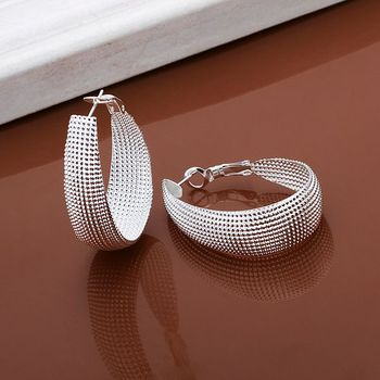 Wholesale High Quality Jewelry 925 jewelry silver plated Flat U web Earrings for Women best gift SMTE064 1