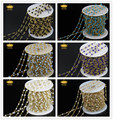 2x3mm Small Glass Faceted Rondelle Beads Cluster Bulk Chain Spools Wholesale Rosary Chains with Gold Plated Chain 6 Color LS09-1