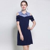 Women Plus Size Summer Dress Splicing Shirt Collar Ruffled Casual Party Cotton Cold Shoulder Dresses Big