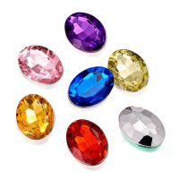 Imitation Taiwan Acrylic Rhinestone Cabochons Rivoli Back Faceted Oval Mixed Color 18x13x5mm
