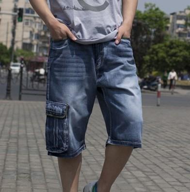 Mens Blue Cotton Denim Shorts 2019 New Multi Pockets Military Style Biker Short Jeans Plus Size 44 46 Casual Shorts Side Pocket