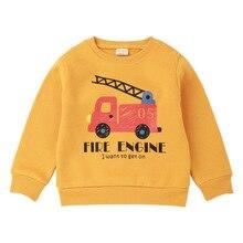 2019 autumn winter boy girl thickening shirt children pullover fire truck T-shirt cotton cartoon printing Kids casual sweatshirt цена 2017