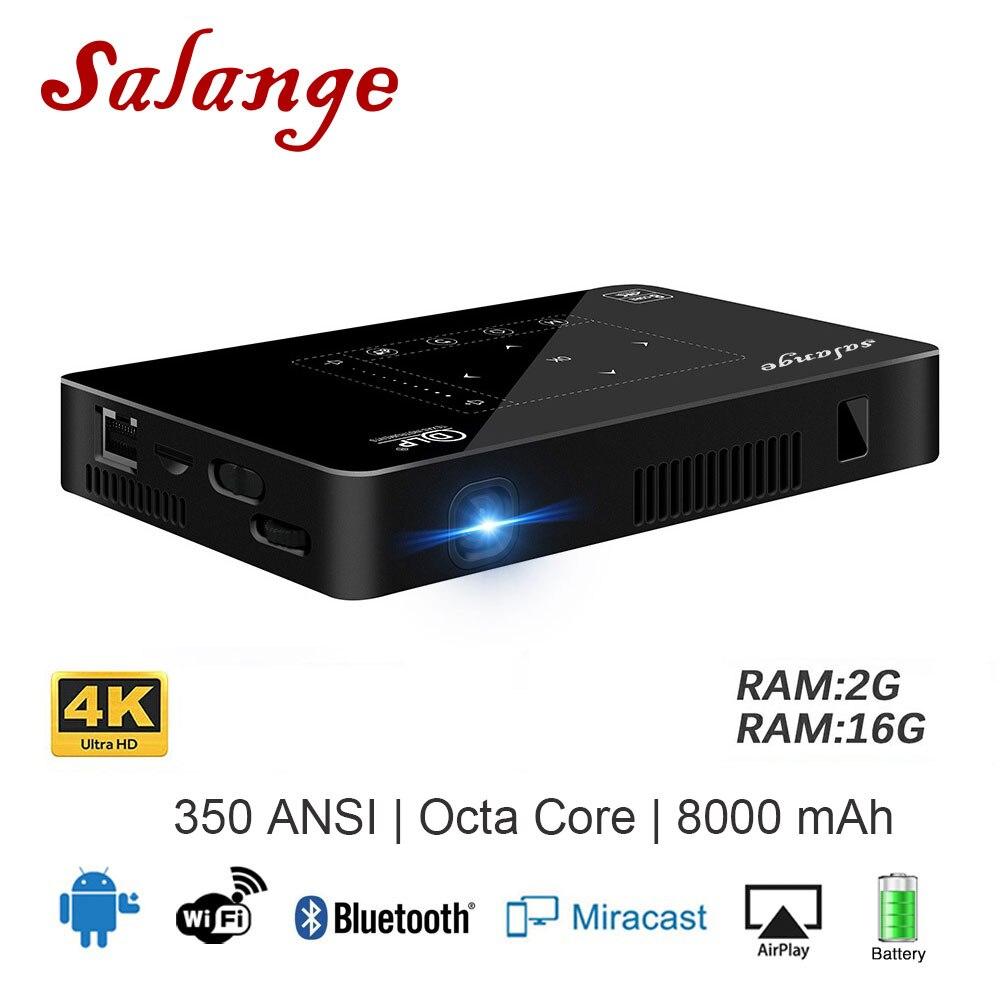 Salange P10 Mini Projecteur Mobile Téléphone Android WIFI Bluetooth 8000 mah Batterie HDMI Soutien 4 k 1080 p Portable Android beamer