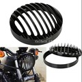 Black 5 3/4 Aluminum Headlight Grill Cover For Harley Sportster XL Dyna Softail