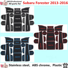 car inner Groove Gate Slot Armrest Storage Rubber non-slip mats inner door pad/cup for Su6aru Forester 2013 2014 2015 2016