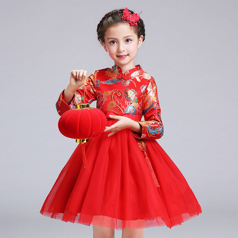 Elegant Winter Long Sleeves Red Flower Party Chinese Style Fancy Kids Girls Dress Toddler Children Costume Teenagers Clothing chouchouchic winter children clothing girls dress party wear cotton short sleeve chinese style winter qipao red forest