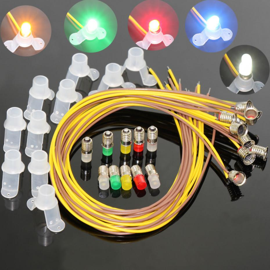 Scale Train Layout Set Model Wire Trees 90 35 For Ho N Wiring Railroad 10pcs Colorful Led Screw Bulb And Stand E5 E55 12v 14v Spur