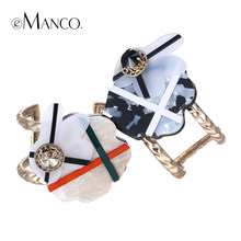 eManco two colors flower acrylic cuff bracelets for women crystal zinc alloy wide opening bangles bracelet brazaletes mujer(China)