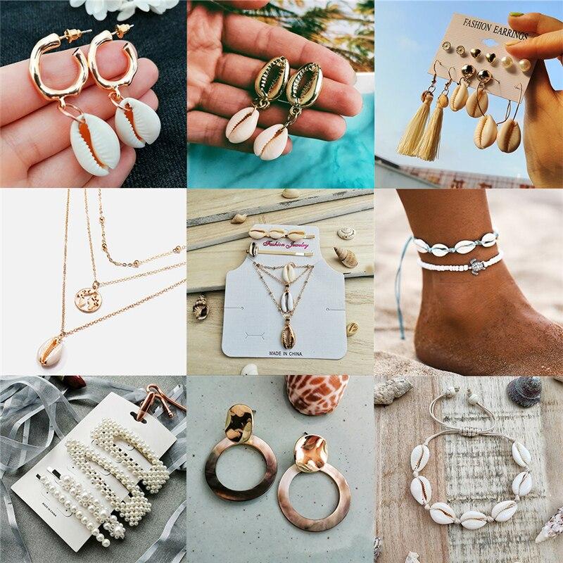Collares con colgante de concha de mar IF YOU, collares con gargantilla de concha de Metal de moda para mujer, joyería de playa de verano 2019