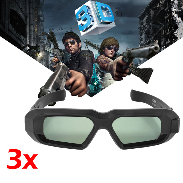 dd853d78dac 3PCS USB Rechargeable Active Shutter 3D Glasses Bluetooth Infrared bril for  3LCD Epson projector Samsung Panasonic Sharp 3D TV